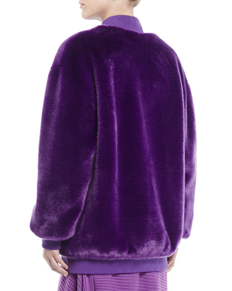 Luxe Faux-Fur Zip-Front Track Jacket