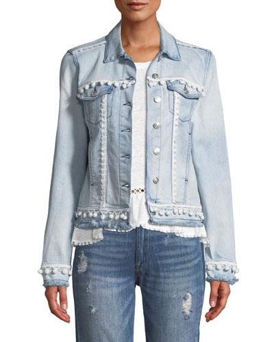 Casey Button-Front Denim Jacket w/ Pompom Trim
