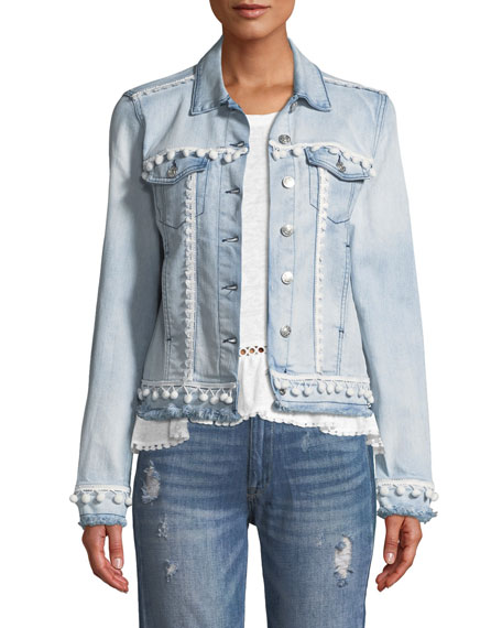 Generation Love Casey Button-Front Denim Jacket w/ Pompom