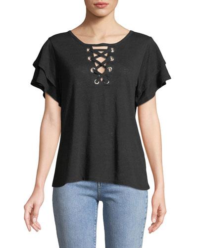 Kiki Lace-Up Ruffled Short-Sleeve Striped Linen Top