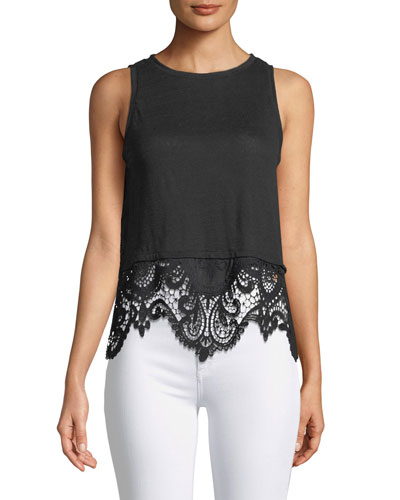 Brigette Sleeveless Embroidered-Back Linen Top with Lace Hem