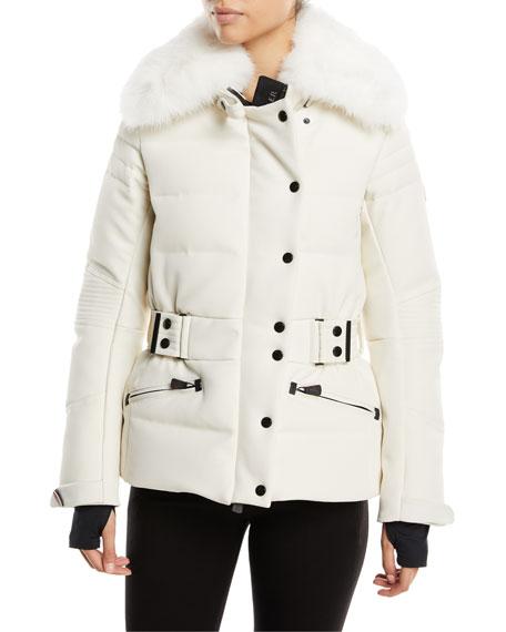 Moncler Belleville Fur-Collar Belted Coat