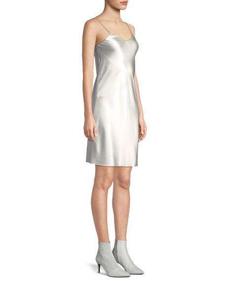 V-Neck Satin Slip Dress with Zipper Detail