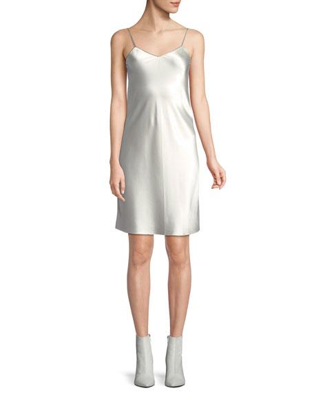 V-Neck Satin Slip Dress with Zipper Detail