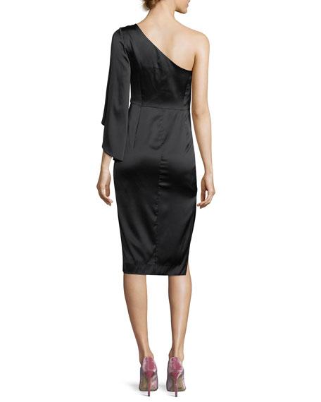 Lauren One-Shoulder Stretch-Charmeuse Cocktail Dress