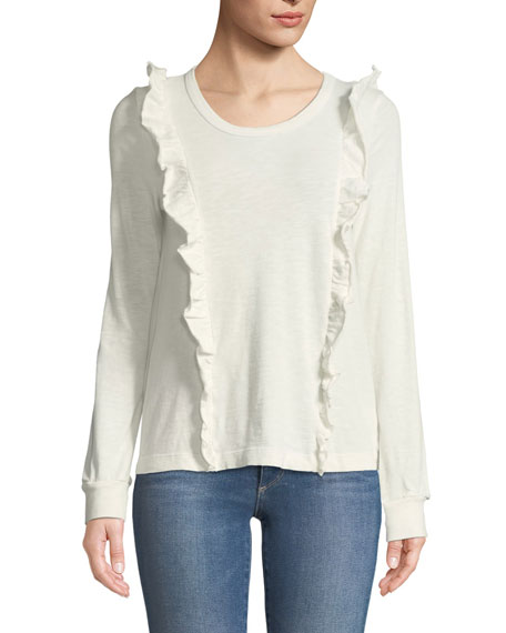 Splendid Crewneck Long-Sleeve Top with Ruffle Trim