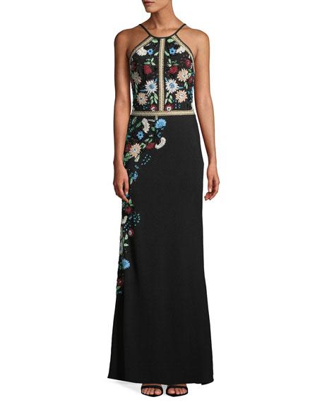Floral Embellished Crepe Halter Gown