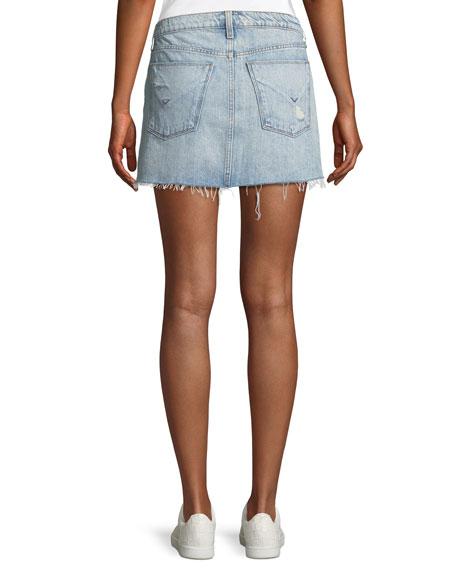 Vivid Frayed Cutoff Denim Skirt