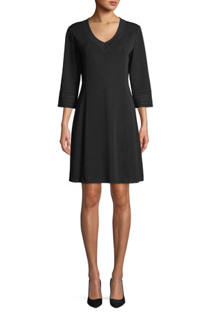 Misook Plus Size 3/4-Sleeve V-Neck A-line Dress