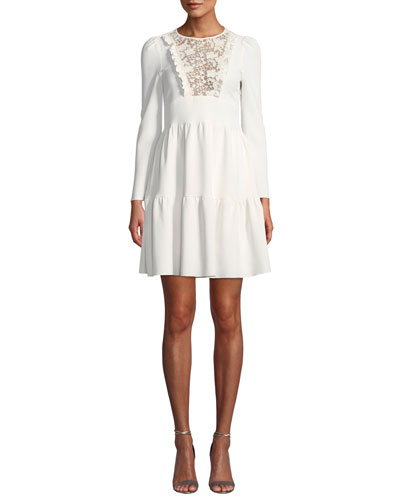 Short Long-Sleeve Lace Tiered Dress