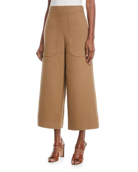 Cropped Cotton Wide-Leg Pants