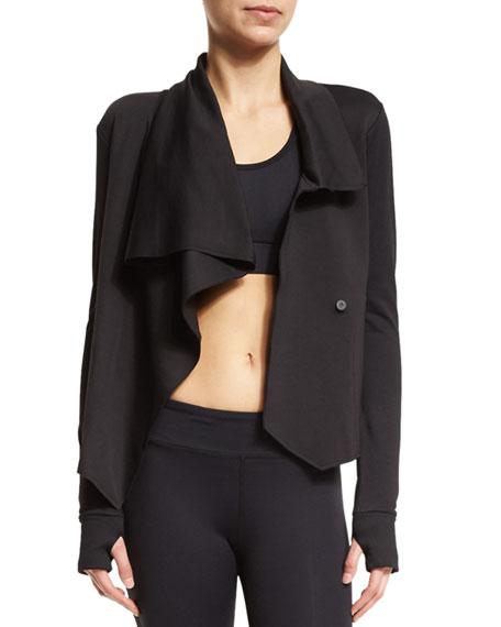 Sophisticate Drape-Front Jacket, Black