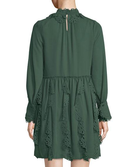 Floral Lace Puff-Sleeve Midi Dress