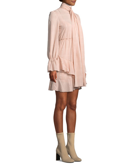 Tonal-Check Tie-Neck Flounce Short Dress