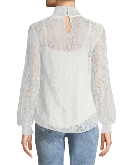High-Neck Lace Long-Sleeve Blouse