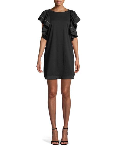 Ruffle-Sleeve Shift Mini Dress