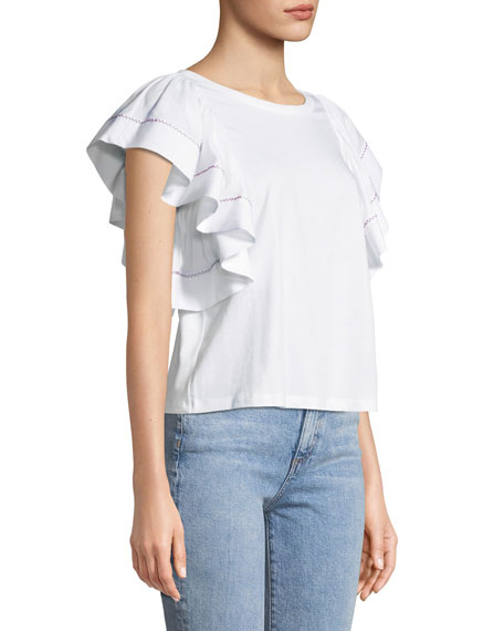 Flouncy-Sleeve Cotton Tee