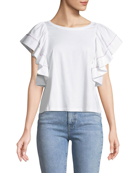 See by Chloe Flouncy-Sleeve Cotton Tee