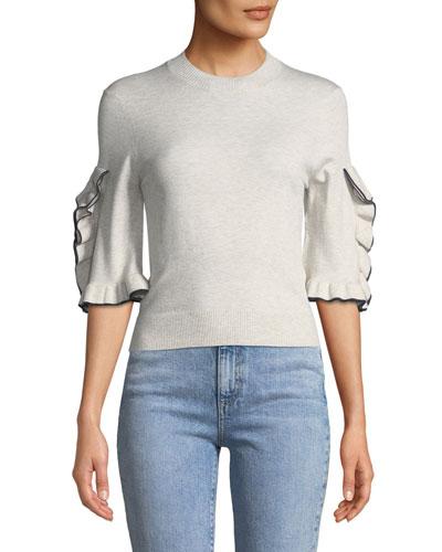 Ruffle-Sleeve Cropped Crewneck Sweater