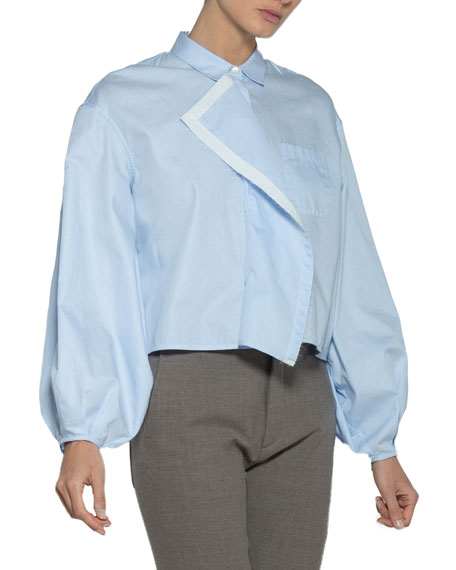 Romantic-Sleeve Poplin Blouse w/ Ribbon Trim