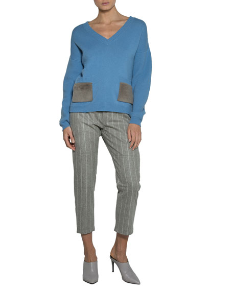 V-Neck Sweater with Shearling Fur Pockets