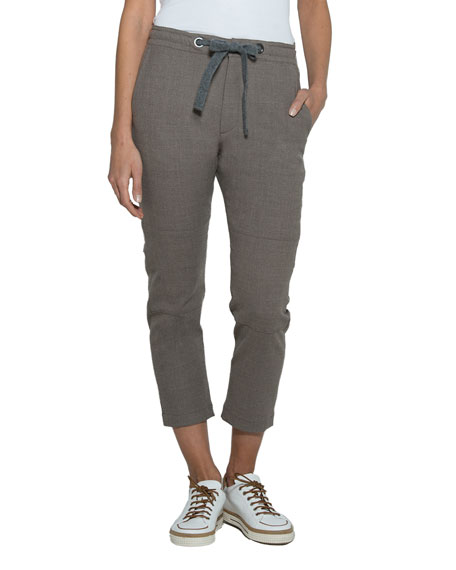 Wool-Silk Drawstring Cropped Pants