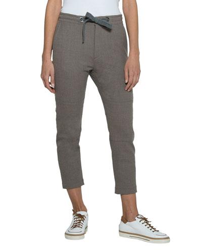 Wool-Silk Drawstring Cropped Pants