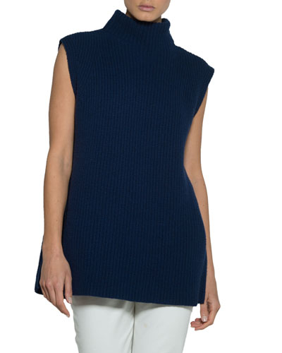 Stand-Collar Sleeveless Pullover