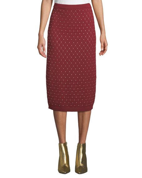 MICHAEL Michael Kors Studded Argyle Slim Knit Skirt