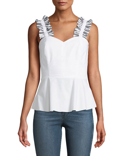 Penn Ruffle Cotton Peplum Top