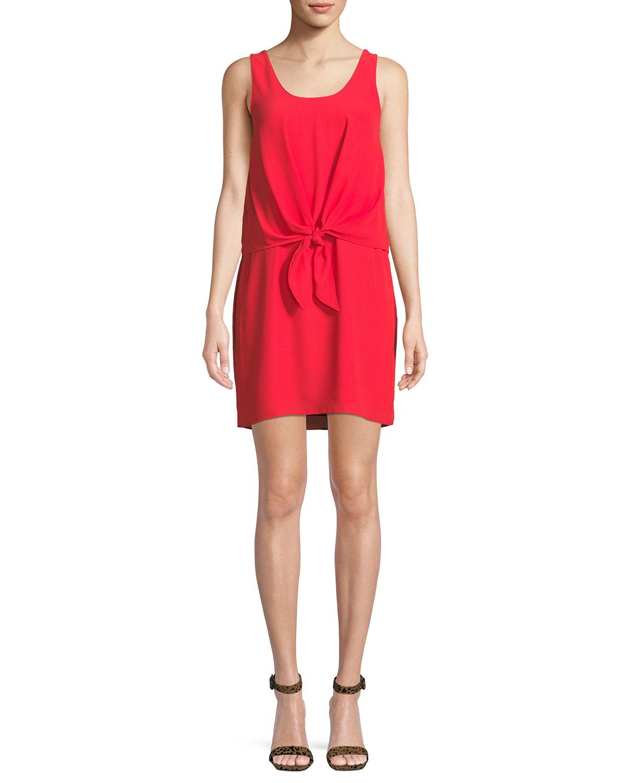 Amanda Uprichard Harbor Sleeveless Tie-Front Short Dress | Neiman Marcus