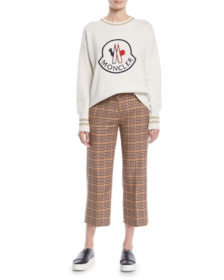 Wool-Blend Check Ankle Pants