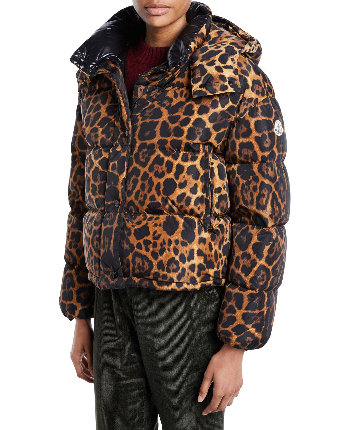 Caille Animal-Print Puffer Coat w/ Removable Hood