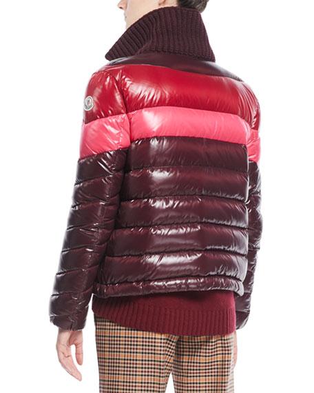 Albatros Tricolor Puffer Jacket w/ Knit Collar