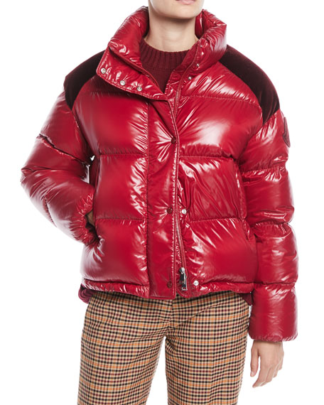 Moncler Chouette Puffer Jacket w/ Contrast Shoulders and