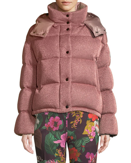 Moncler Caille Metallic Puffer Coat w/ Removable Hood