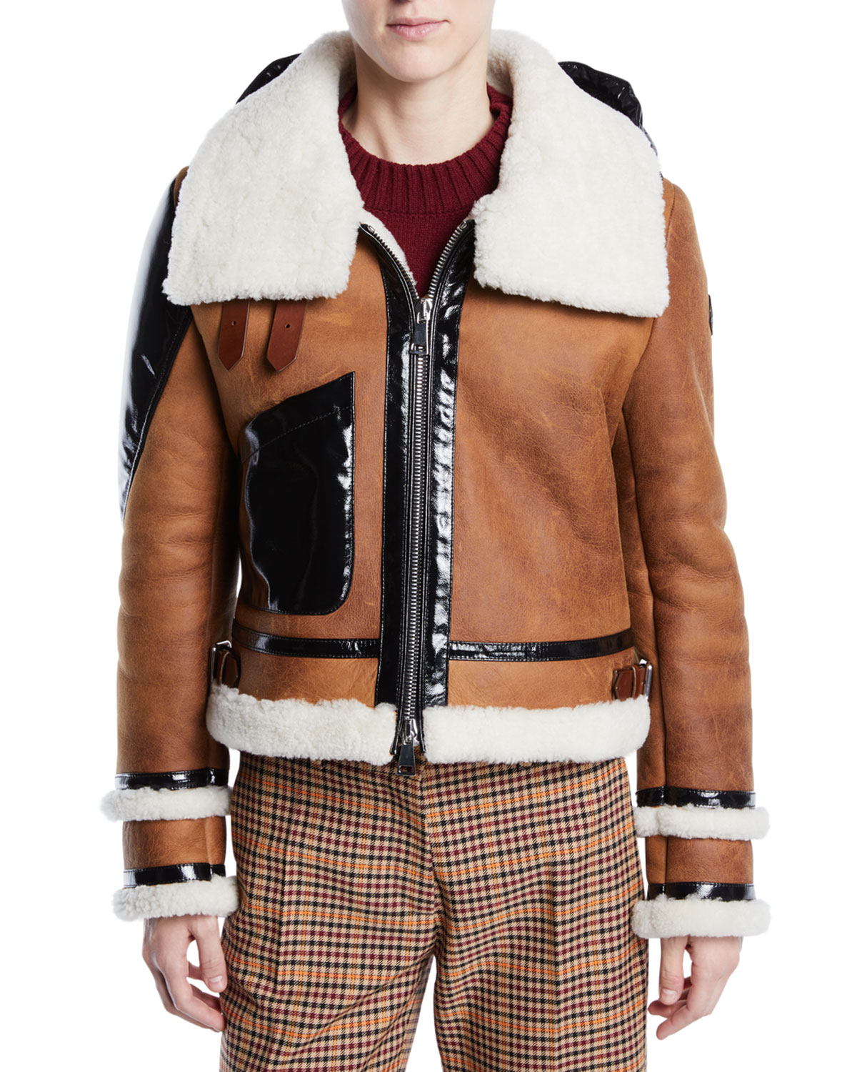 92b13f4a755e Moncler Crabier Mixed-Media Leather Jacket w  Contrast Hood