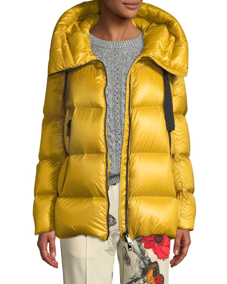 Serin Puffer Coat W/ Drawstring Hood, Yellow