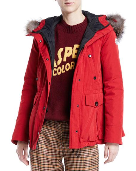 Macareux Parka Coat w/ Removable Fur Trim