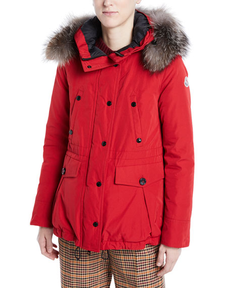 Moncler Macareux Parka Coat w/ Removable Fur Trim