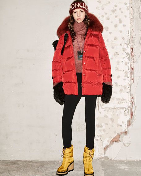 Mesange Puffer Coat w/ Fur Collar