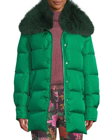 Mesange Puffer Coat w/ Fur Collar