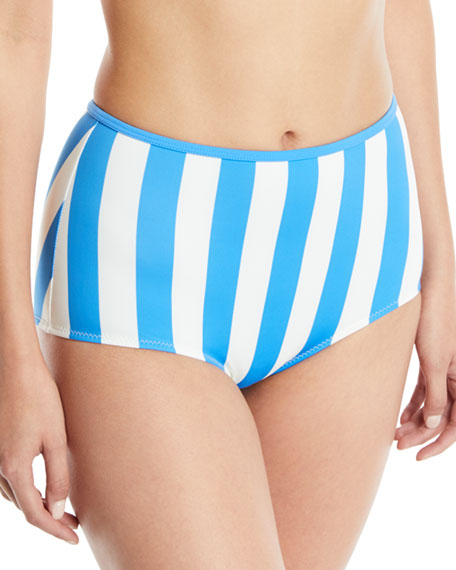 The Brigitte High-Waist Striped Swim Bottoms