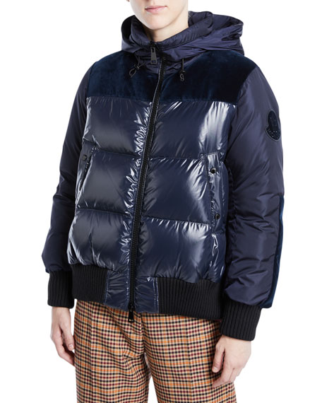 Moncler Elanion Puffer Jacket w/ Velvet Back and