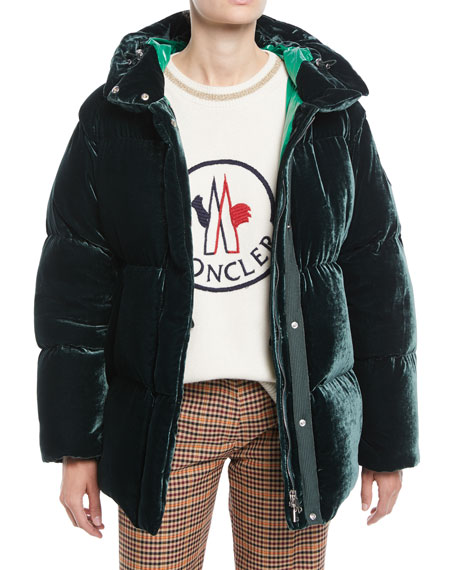 Moncler Butor Velvet Puffer Coat and Matching Items