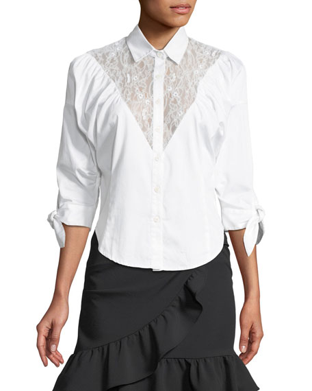 Lace-Yoke Sateen Button-Down Shirt