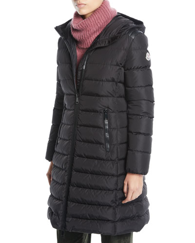 Taleve Zip-Front Hooded Mid-Length Quilted Puffer Jacket