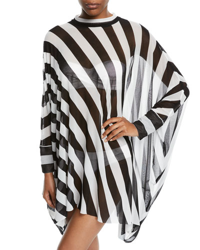 Turtle Striped Long-Sleeve Coverup Poncho