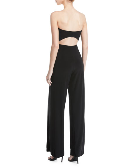 Strapless Cutout Wide-Leg Jumpsuit