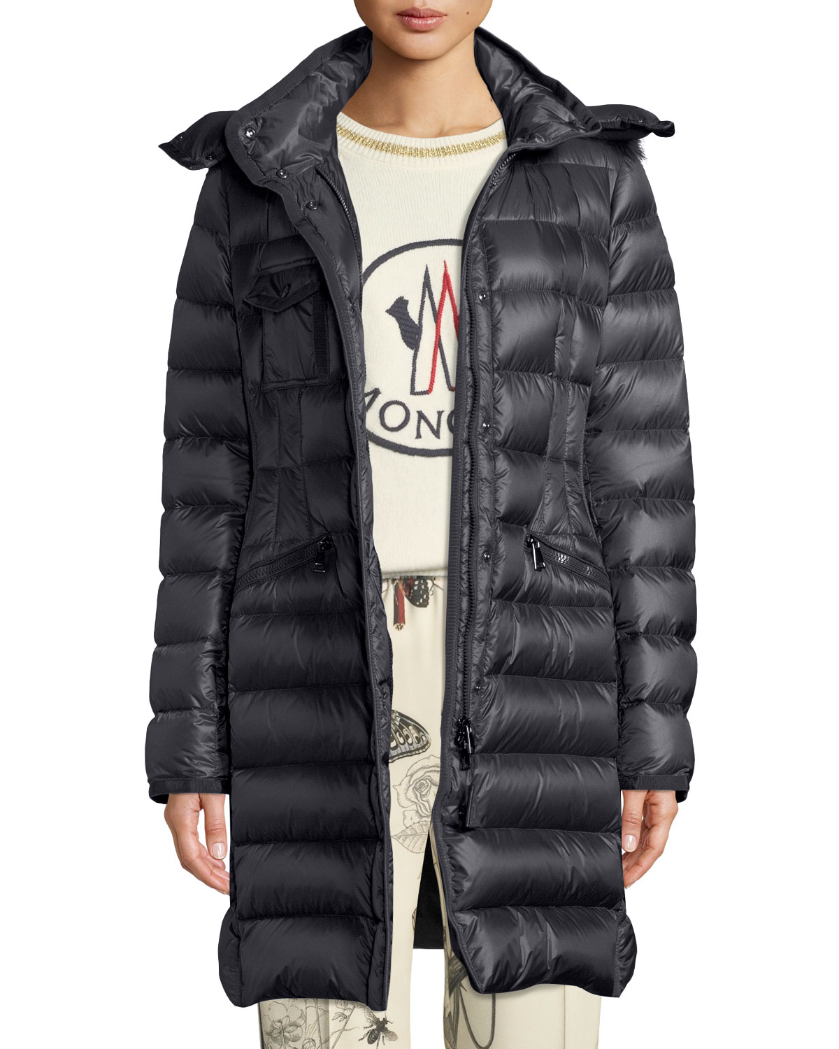 d2effa99fe76 Moncler Hermifur Fitted Puffer Coat w  Removable Fur Hood